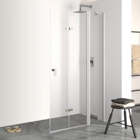 HÜPPE Design pure Schwingfalttür mit festem Segment ESG klar / silber matt