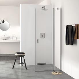 HÜPPE Design pure Schwingtür mit festen Segmenten mit Innen-/Außenöffnung für Seitenwand ESG klar / silber matt