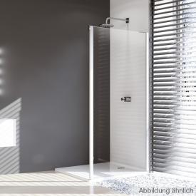 Hüppe Design pure 4-Eck Seitenwand für Gleittür 2teilig mit festen Segmenten / Gleittür mit festem Segment und Nebenteil ESG klar / silber matt