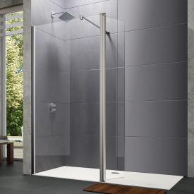 HÜPPE Design pure Walk In Seitenwand mit beweglichem Segement ESG klar mit ANTI-PLAQUE / silber hochglanz