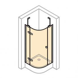 Hüppe Enjoy elegance teilgerahmte 1/4-Kreis Schwingtür mit festen Segmenten, 1-flügelig ESG klar mit ANTI-PLAQUE / chrom