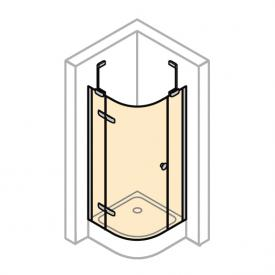 Hüppe Enjoy elegance 1/4-Kreis Schwingtür mit festen Segmenten, 1-flügelig ESG klar / chrom