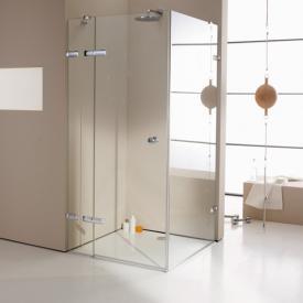 Hüppe Enjoy elegance rahmenlose Schwingtür mit festem Segment und Seitenwand ESG klar mit ANTI-PLAQUE / chrom
