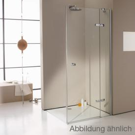 Hüppe Enjoy elegance teilgerahmte Schwingtür mit festem Segment für Seitenwand/Eckeinstieg ESG privatima mit ANTI-PLAQUE / chrom