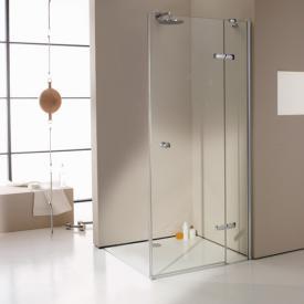 HÜPPE Enjoy elegance teilgerahmte Schwingtür mit festem Segment für Seitenwand/Eckeinstieg ESG klar mit ANTI-PLAQUE / silber hochglanz