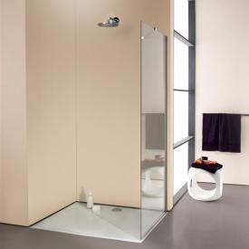 HÜPPE Enjoy elegance teilgerahmte Seitenwand alleinstehend ESG klar mit ANTI-PLAQUE / silber hochglanz, mit Stabilisationsbügel