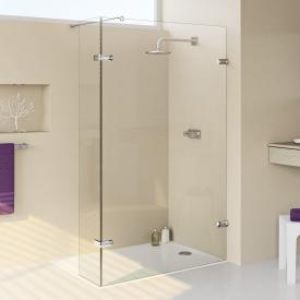 HÜPPE Enjoy elegance rahmenlose Walk In Seitenwand mit beweglichem Segment ESG klar mit ANTI-PLAQUE / chrom