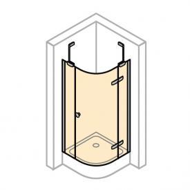 Hüppe Enjoy pure 1/4-Kreis Schwingtür mit festen Segmenten, 1-flügelig ESG klar mit ANTI-PLAQUE / chrom