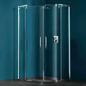 HÜPPE Refresh pure 5-Eck Schwingtür mit festen Segmenten ESG klar / titan silber