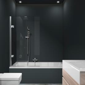 HÜPPE Solva pure teilgerahmte Badewannenabtrennung 1-teilig ESG klar mit ANTI-PLAQUE / silber hochglanz