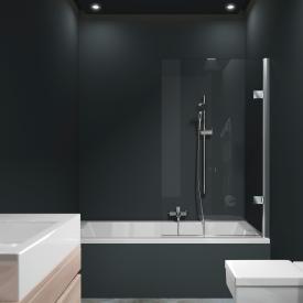 HÜPPE Solva pure teilgerahmte Badewannenabtrennung 1-teilig ESG klar mit ANTI-PLAQUE / chrom