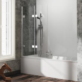 HÜPPE Solva pure teilgerahmte Badewannenabtrennung Schwingfalttür ESG klar / silber hochglanz