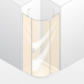 Hüppe Studio Berlin pure teilgerahmte 1/4 Kreis Schwingtür mit festem Segment 1-flügelig ESG klar mit ANTI-PLAQUE / chrom