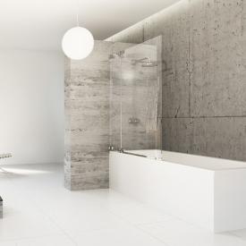 Hüppe Studio Berlin pure rahmenlose  Badewannenabtrennung 1-teilig mit Festsegment ESG klar mit ANTI-PLAQUE / chrom