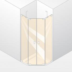 Hüppe Studio Berlin pure rahmenlose 5-Eck Schwingtür mit festen Segmenten 2-flügelig ESG klar mit ANTI-PLAQUE / chrom