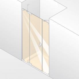 Hüppe Studio Berlin pure Schwingtür mit festem Segment + Nebenteil in Nische ESG klar mit ANTI-PLAQUE / chrom