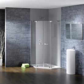 HÜPPE Studio Paris elegance teilgerahmte 5-Eck Schwingtür mit festen Segmenten 2-flügelig ESG klar mit ANTI-PLAQUE / chrom