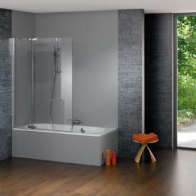HÜPPE Studio Paris elegance teilgerahmte Badewannenabtrennung 1-teilig mit Festsegment ESG klar mit ANTI-PLAQUE / chrom