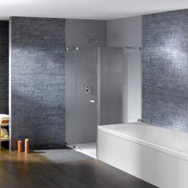 Hüppe Studio Paris elegance rahmenlose Schwingtür mit festem Segment und kurzer Seitenwand ESG klar mit ANTI-PLAQUE / chrom