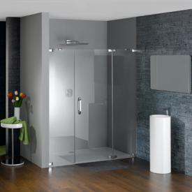 Hüppe Studio Paris elegance rahmenlose Schwingtür mit festem Segment und Nebenteil in Nische ESG klar mit ANTI-PLAQUE / chrom