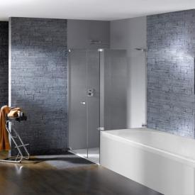 Hüppe Studio Paris elegance rahmenlose Schwingtür mit Nebenteil + kurzer Seitenwand ESG klar mit ANTI-PLAQUE / chrom