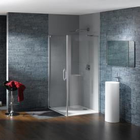 Hüppe Studio Paris elegance teilgerahmte Schwingtür mit Seitenwand ESG klar mit ANTI-PLAQUE / chrom