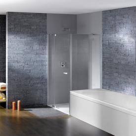 Hüppe Studio Paris elegance teilgerahmte Schwingtür mit festem Segment + kurzer Seitenwand ESG klar / chrom, Linksbefestigung