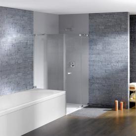 Hüppe Studio Paris elegance rahmenlose Schwingtür mit festem Segment und kurzer Seitenwand ESG klar / chrom, Rechtsbefestigung