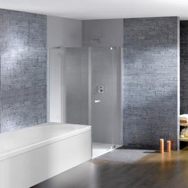 Hüppe Studio Paris elegance teilgerahmte Schwingtür mit festem Segment + kurzer Seitenwand ESG klar / chrom, Rechtsbefestigung
