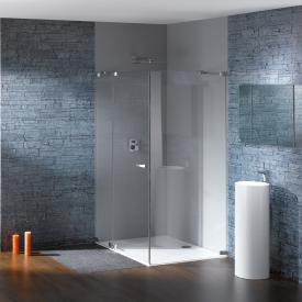Hüppe Studio Paris elegance rahmenlose Schwingtür mit festem Segment und Seitenwand ESG klar mit ANTI-PLAQUE / chrom