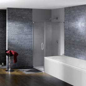 Hüppe Studio Paris elegance rahmenlose Schwingtür mit kurzer Seitenwand ESG klar ANTI-PLAQUE / chrom, Linksbefestigung
