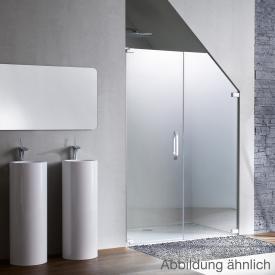 Hüppe Studio Paris elegance rahmenlose Schwingtür mit Nebenteil in Nische ESG klar mit ANTI-PLAQUE / chrom