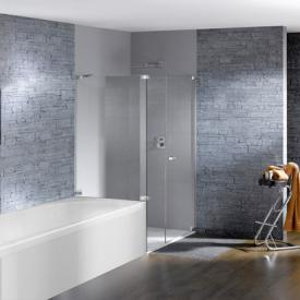 Hüppe Studio Paris elegance rahmenlose Schwingtür mit Nebenteil + kurzer Seitenwand ESG klar / chrom, Rechtsbefestigung