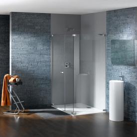 Hüppe Studio Paris elegance rahmenlose Schwingtür mit Nebenteil und Seitenwand ESG klar mit ANTI-PLAQUE / chrom
