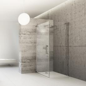 Hüppe Studio Paris elegance rahmenlose Schwingtür mit Seitenwand ESG klar mit ANTI-PLAQUE / chrom
