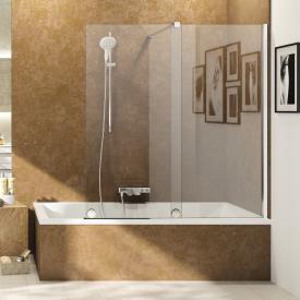 HÜPPE Xtensa pure Badewannenabtrennung Gleittür 1-teilig mit festem Segment ESG klar / silber hochglanz