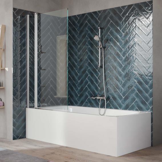 HÜPPE 501 Design pure Badewannenabtrennung 1-teilig mit festem Segment ESG klar / silber matt