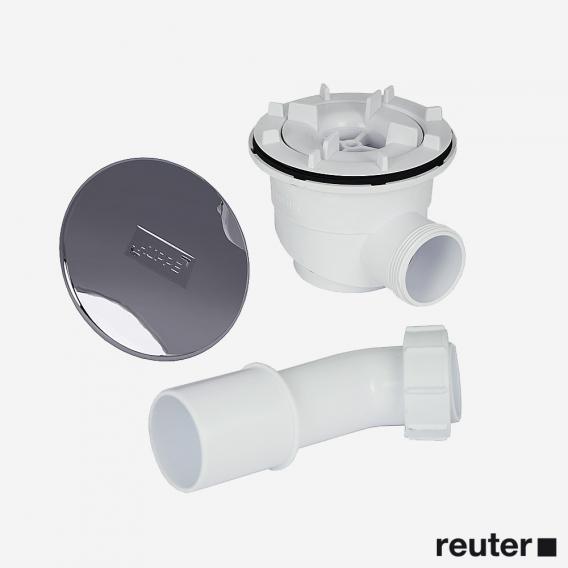 HÜPPE Ablaufgarnitur Ø 90 mm und runder Ablaufkappe, Komplett-Set chrom