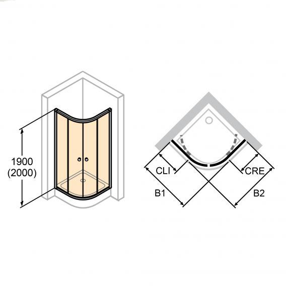 HÜPPE Alpha 2 teilgerahmte 1/4 Kreis Gleittür ESG klar mit ANTI-PLAQUE / silber matt
