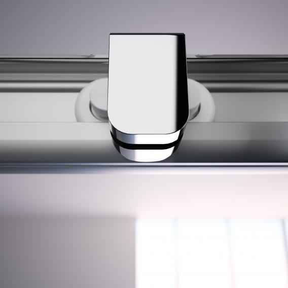 HÜPPE Alpha 2 teilgerahmte Gleittür 2-teilig mit festem Segment ESG klar / silber matt