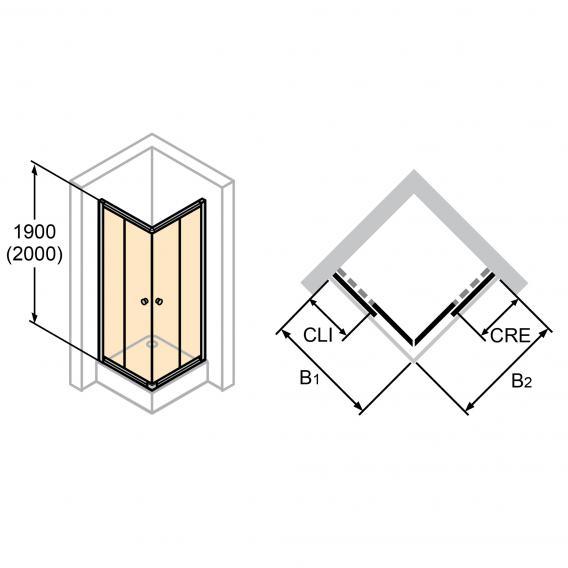 HÜPPE Alpha 2 teilgerahmte Gleittüreckeinstieg 2-teilig ESG klar mit ANTI-PLAQUE / silber matt