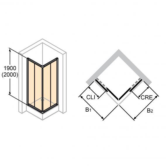 HÜPPE Alpha 2 gerahmte Gleittüreckeinstieg 2-teilig ESG klar / silber matt