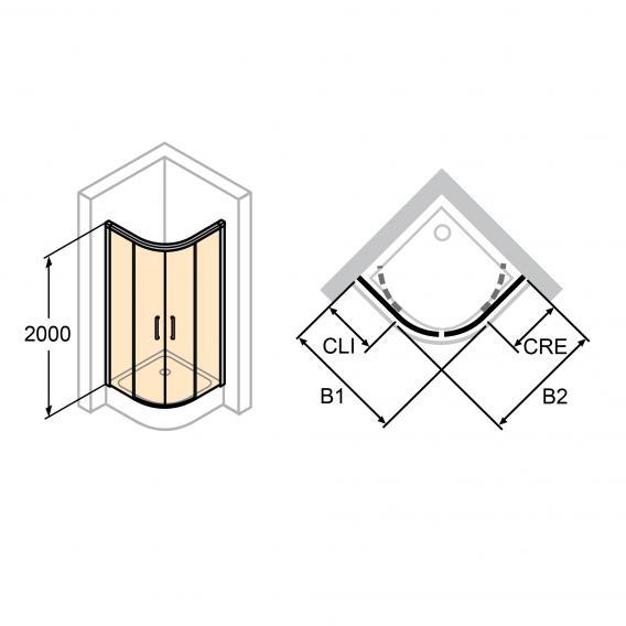 HÜPPE Classics 2 EasyEntry 1/4 Kreis Gleittür ESG klar / silber matt