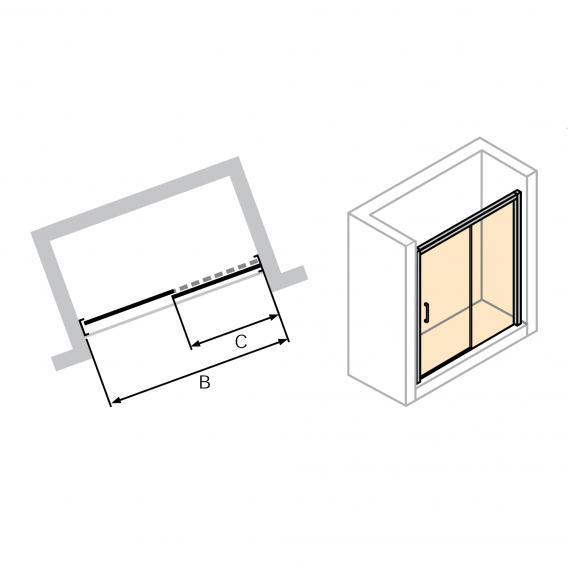 HÜPPE Classics 2 EasyEntry Gleittür 1-teilig mit festem Segment ESG klar mit ANTI-PLAQUE / silber hochglanz