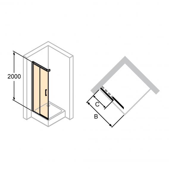 HÜPPE Classics 2 EasyEntry Gleittür 2-teilig für Eckeinstieg ESG klar mit ANTI-PLAQUE / silber matt