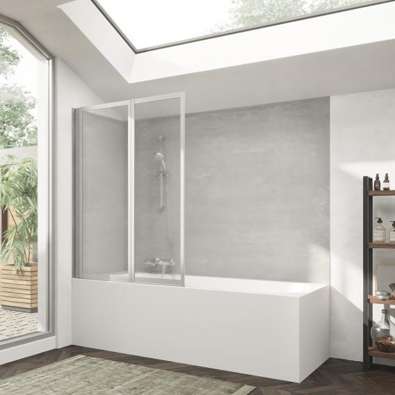 HÜPPE Combinett 2 Badewannenabtrennung 2-teilig Kunstglas pacific S klar / silber matt