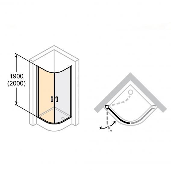 Hüppe Design elegance 1/4 Kreis Schwingtür 2-flügelig ESG klar mit ANTI-PLAQUE / chrom