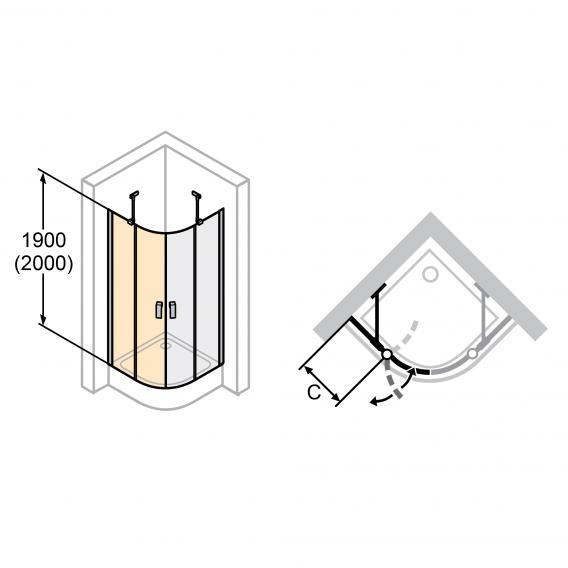 HÜPPE Design elegance 1/4 Kreis Schwingtür mit festen Segmenten 2-flügelig ESG klar / silber matt