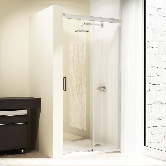HÜPPE Design elegance Gleittür 1-teilig mit festem Segment ESG klar mit ANTI-PLAQUE / chrom