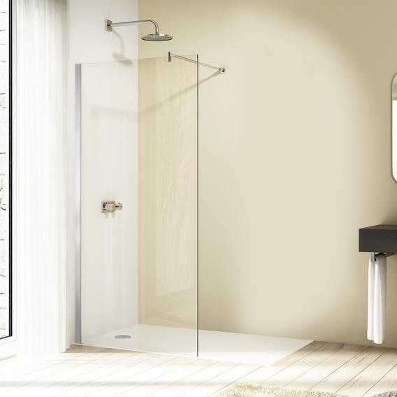 HÜPPE Design elegance Seitenwand alleinstehend ESG klar mit ANTI-PLAQUE / silber hochglanz